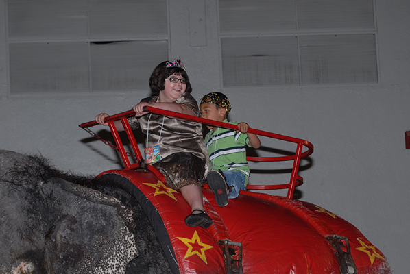 Past King & Queen of the Circus riding the elephant during the intermission.